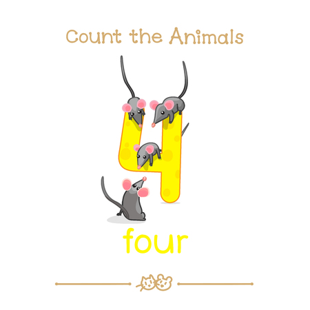 vector cartoon illustration for four, 4 counting with series of Count the Animals. Baby shower. School manual for teachers. Symbol and designation. Clipart isolated on white background. EPS 10