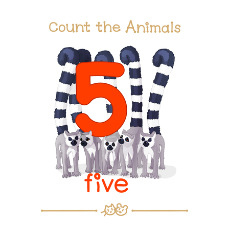 vector cartoon illustration for five, 5 learn counting with series of
