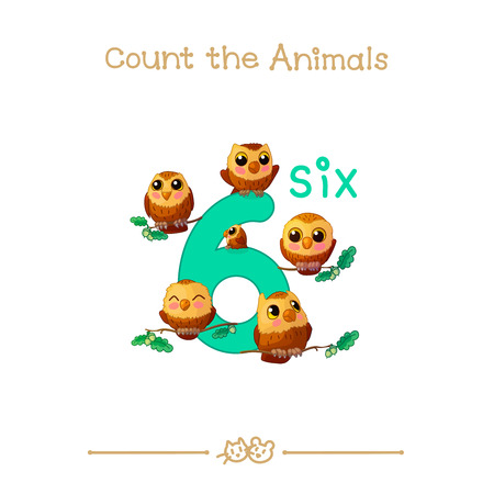 vector cartoon illustration for six, 6 learn counting with series of Count the Animals. Baby shower. School manual for teachers. Symbol and designation. Clipart isolated on white background. EPS 10