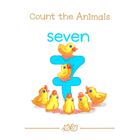 vector cartoon illustration for seven, 7 learn counting with series of Count the Animals. Baby shower. School manual for teachers. Symbol and designation. Clipart isolated on white background EPS 10