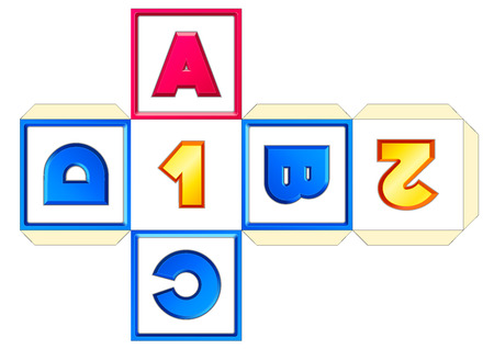 papercraft: vector paper cube scheme 26 letters AZ. Abc english alphabet (latin). Numbers 0-9. Print, crafts, papercraft, learning. Educational toy for children. ABCD-1-2