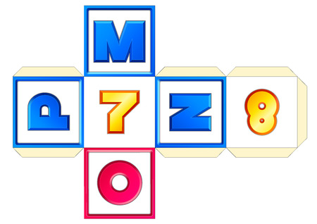 vector paper cube scheme 26 letters AZ. Abc english alphabet (latin). Numbers 0-9. Print, crafts, papercraft, learning. Educational toy for children. MNOP-7-8 Çizim