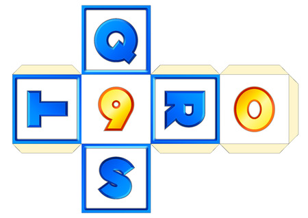 vector paper cube scheme 26 letters AZ. Abc english alphabet (latin). Numbers 0-9. Print, crafts, papercraft, learning. Educational toy for children. QRST-9-0 Illustration