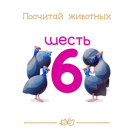 6 six vector cartoon illustration. Learn counting with Russian series Count the Animals. Illustration