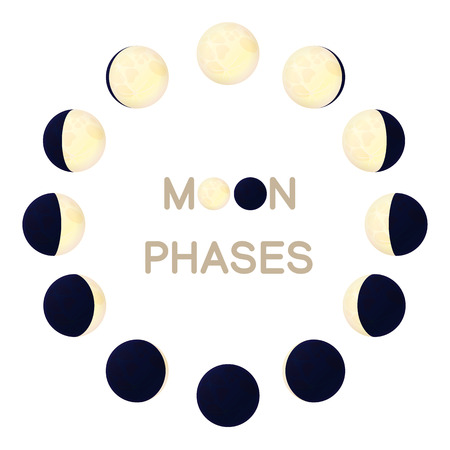 vector moon phases. Luna The lunar cycle change. New, waxing, quarter, crescent, half, full, waning, eclipse. Graphic resource. Nature design elements. Clip art isolated on transparent background. Vettoriali