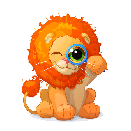 Vector illustration of cute little lion. Clip art isolated on transparent background. Graphics characters. Hand drawn creatures. Nature design elements Illustration