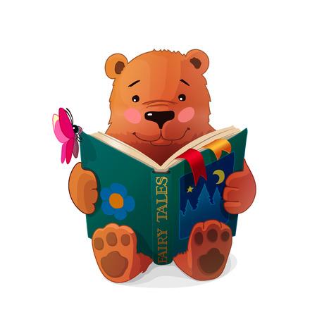 Vector illustration of a bear reading Çizim