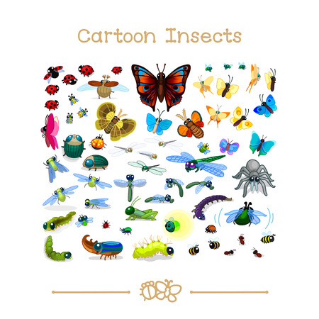 Vector illustration collection cartoon animals. Insects set 01.