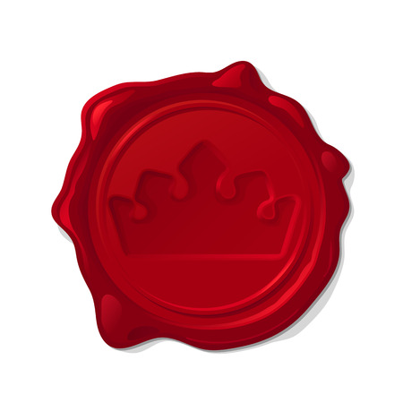 Red wax seal isolated on transparent background. Concave crown
