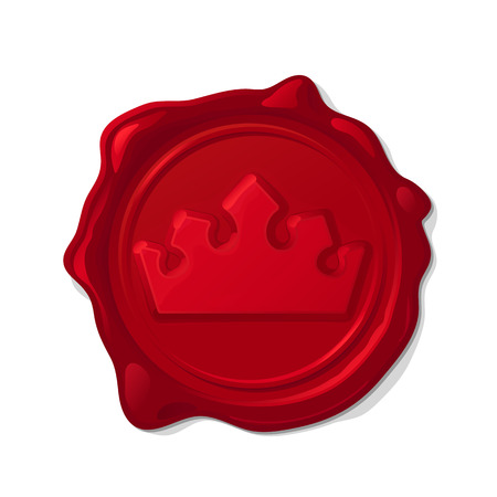 Red wax seal isolated on transparent background. Convex crown