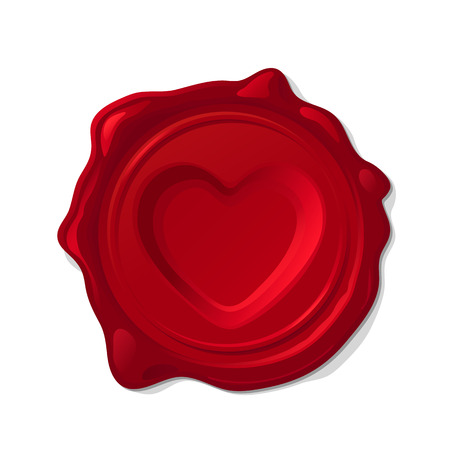 Vector red wax seal concave love heart isolated on transparent background.