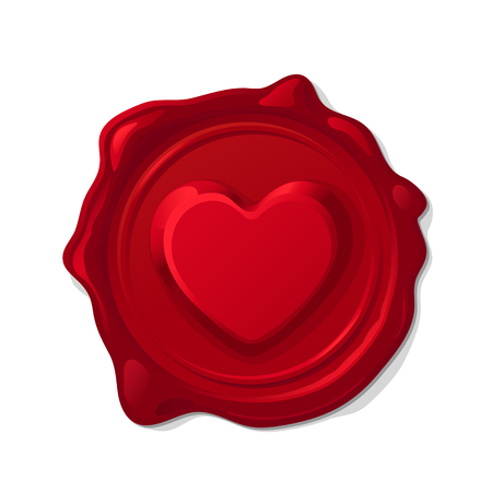 Vector red wax seal convex love heart isolated on transparent background.