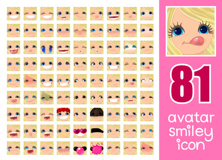 vector SET-81 social media avatar emoticon smiley emoji icon. Different funny emotion expression girl face. Kawaii web cartoon character. Female graphic profile chat symbol. 29