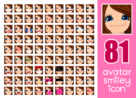 vector SET-81 social media avatar emoticon smiley emoji icon. Different funny emotion expression girl face. Kawaii web cartoon character. Female graphic profile chat symbol. 31
