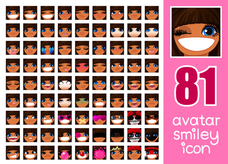 vector SET-81 social media avatar emoticon smiley emoji icon. Different funny emotion expression girl face. Kawaii web cartoon character. Female graphic profile chat symbol. 36 Illustration