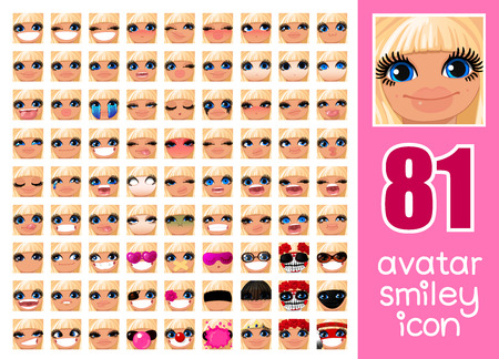 vector SET-81 social media avatar emoticon smiley emoji icon. Different funny emotion expression girl face. Kawaii web cartoon character. Female graphic profile chat symbol. 01 Illustration