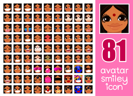 vector SET-81 social media avatar emoticon smiley emoji icon. Different funny emotion expression girl face. Kawaii web cartoon character. Female graphic profile chat symbol. 03