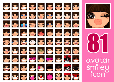 vector SET-81 social media avatar emoticon smiley emoji icon. Different funny emotion expression girl face. Kawaii web cartoon character. Female graphic profile chat symbol. 06