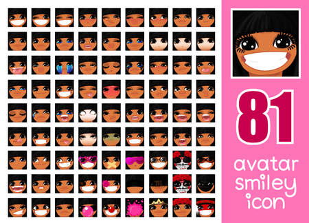 vector SET-81 social media avatar emoticon smiley emoji icon. Different funny emotion expression girl face. Kawaii web cartoon character. Female graphic profile chat symbol. 09 Illustration