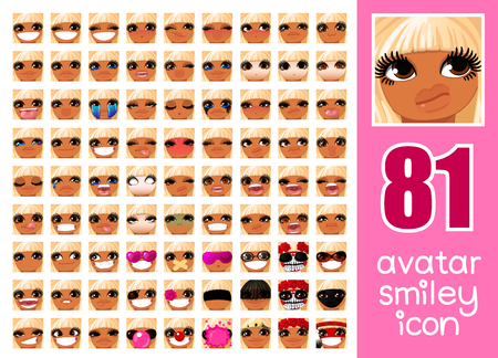 vector SET-81 social media avatar emoticon smiley emoji icon. Different funny emotion expression girl face. Kawaii web cartoon character. Female graphic profile chat symbol. 10 Illustration