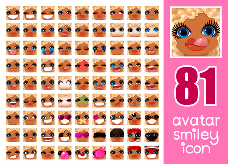 vector SET-81 social media avatar emoticon smiley emoji icon. Different funny emotion expression girl face. Kawaii web cartoon character. Female graphic profile chat symbol. 12