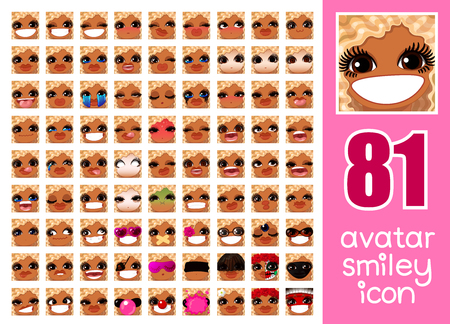 vector SET-81 social media avatar emoticon smiley emoji icon. Different funny emotion expression girl face. Kawaii web cartoon character. Female graphic profile chat symbol. 13 Illustration