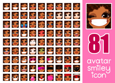 vector SET-81 social media avatar emoticon smiley emoji icon. Different funny emotion expression girl face. Kawaii web cartoon character. Female graphic profile chat symbol. 14