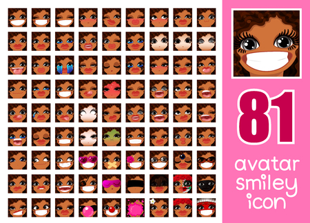 vector SET-81 social media avatar emoticon smiley emoji icon. Different funny emotion expression girl face. Kawaii web cartoon character. Female graphic profile chat symbol. 15 Illustration