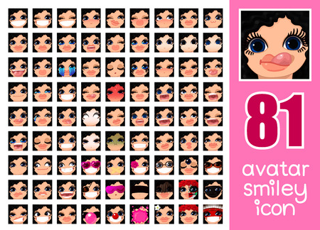 vector SET-81 social media avatar emoticon smiley emoji icon. Different funny emotion expression girl face. Kawaii web cartoon character. Female graphic profile chat symbol. 17 Stock Illustratie