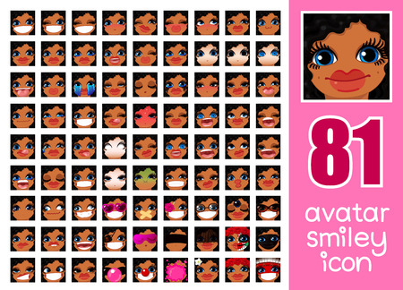 Vector SET-81 sociale media avatar emoticon smiley emoji pictogram. Verschillende grappige emotie gezicht van het meisje van de emotie. Kawaii web stripfiguur. Vrouwelijk grafisch profielchat symbool. 18 Stockfoto - 74229230