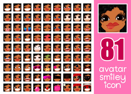 vector SET-81 social media avatar emoticon smiley emoji icon. Different funny emotion expression girl face. Kawaii web cartoon character. Female graphic profile chat symbol. 19