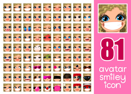 vector SET-81 social media avatar emoticon smiley emoji icon. Different funny emotion expression girl face. Kawaii web cartoon character. Female graphic profile chat symbol. 20