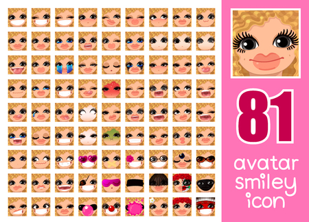 vector SET-81 social media avatar emoticon smiley emoji icon. Different funny emotion expression girl face. Kawaii web cartoon character. Female graphic profile chat symbol. 22 Illustration