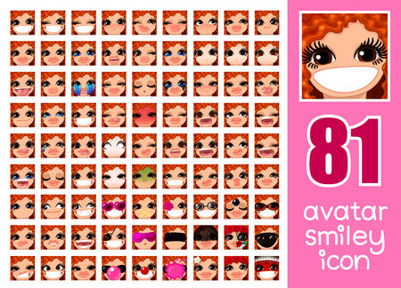 vector SET-81 social media avatar emoticon smiley emoji icon. Different funny emotion expression girl face. Kawaii web cartoon character. Female graphic profile chat symbol. 25 Illustration