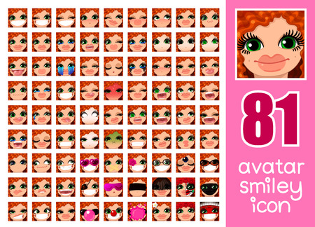 ail: vector SET-81 social media avatar emoticon smiley emoji icon. Different funny emotion expression girl face. Kawaii web cartoon character. Female graphic profile chat symbol. 26