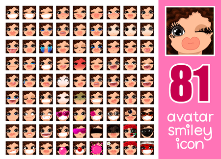 vector SET-81 social media avatar emoticon smiley emoji icon. Different funny emotion expression girl face. Kawaii web cartoon character. Female graphic profile chat symbol. 24