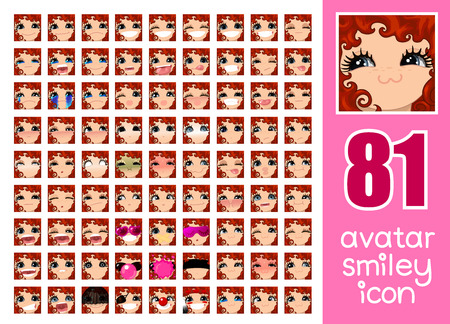 vector SET-81 social media avatar emoticon smiley emoji icon. People human woman lady female graphic profile chat symbol. 34