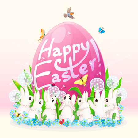 girlish: vector card Happy Easter! Big pink egg and white funny bunnies. Cartoon hand drawn concept. Spring background.