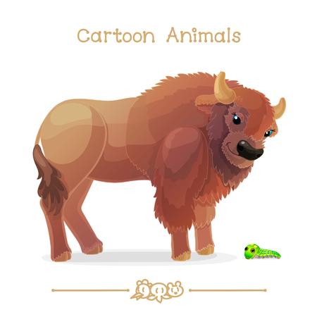 Cartoon animals, bison and papilio troilus.