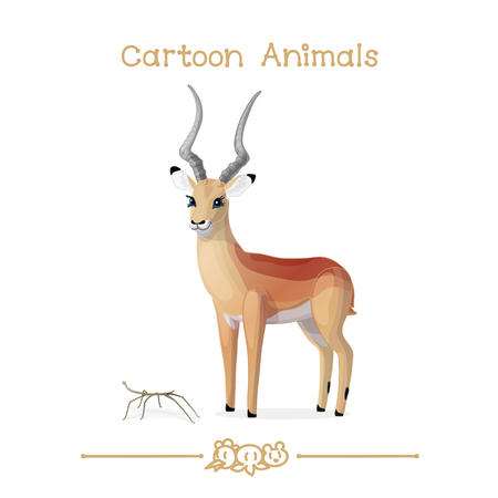 Cartoon animals, impala and walking stick insect.