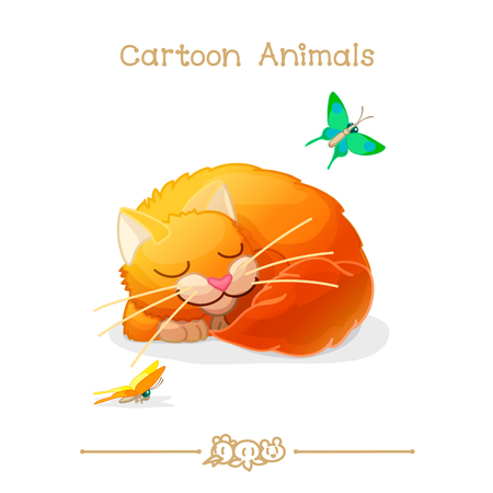 Cartoon animals, sleeping cat and butterfly.