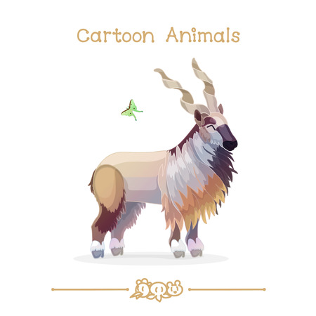 capra: vector illustration collection Cartoon Animals. Markhor & butterfly. Clip art isolated on transparent background.