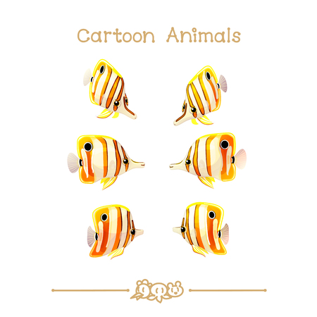 butterflyfish: vector illustration collection Cartoon Animals. Chelmon rostratus fish. Clip art isolated on transparent background. Illustration