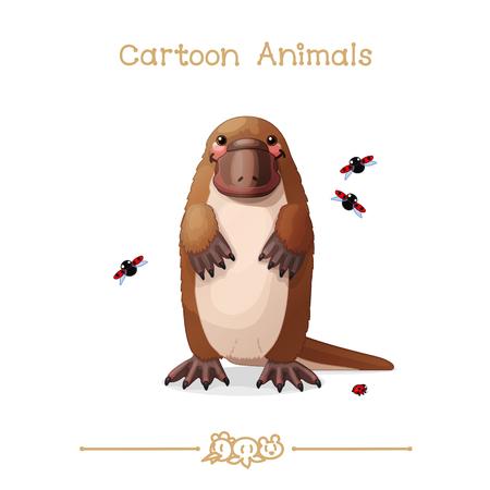 vector illustration collection Cartoon Animals. Platypus & ladybugs. Clip art isolated on transparent background. Illustration