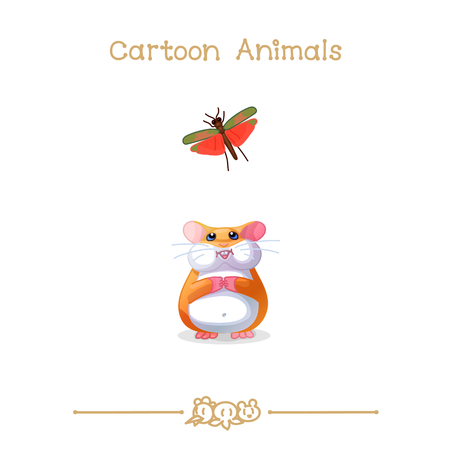 vector illustration collection Cartoon Animals. Hamster & grasshopper. Clip art isolated on transparent background.