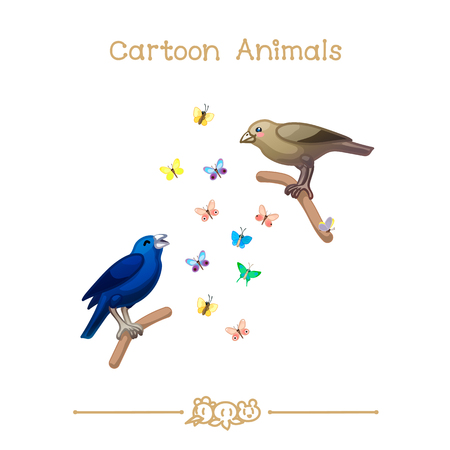 vector illustration collection Cartoon Animals. Blue-black grassquit  Volatinia jacarina. Clip art isolated on transparent background. Graphics characters. Hand drawn creatures Nature design elements Illustration
