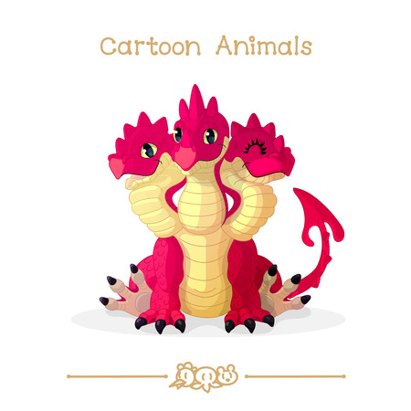 fairy: vector illustration collection Cartoon Animals. Three headed red dragon. Clip art isolated on transparent background. Graphics characters. Hand drawn creatures. Nature design elements