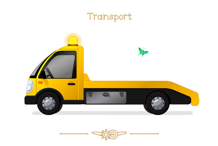 vector illustration series of Cartoon Transport. Wrecker  tow. Clipart isolated on transparent background. Graphics. Stylized objects. Hand drawn concept. Design elements (sketch). Baby pics