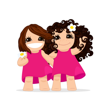 Vector girls graphic, best friends, girl illustration, little girls, cartoon baby character, pretty girls, hand drawn style, playful kids, friends hugging, bare feet, isolated on transparent background Çizim