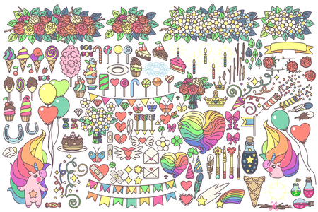 Vector big celebration objects set. Doodles for kids. Hand drawn clipart. Fashion vintage style. Graphics isolated on transparent background. Print arts. Cartoon pastel fairy collection. Kawaii food Ilustrace